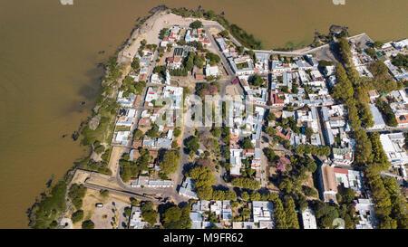 Aerial of Barrio Historico, Colonia del Sacramento, Uruguay - Stock Photo