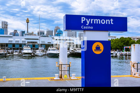 Sydney, Australia - Jan. 31, 2017: Bay ferry Pyrmont stop at Darling Island Wharf. - Stock Photo