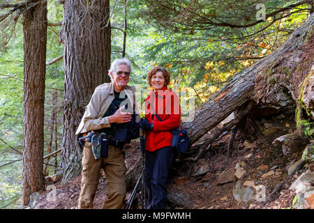 42,636.05955 Elderly married couple resting on a hike up Glacier Gulch Trail in an old growth conifer forest, near Smithers, British Columbia, Canada - Stock Photo