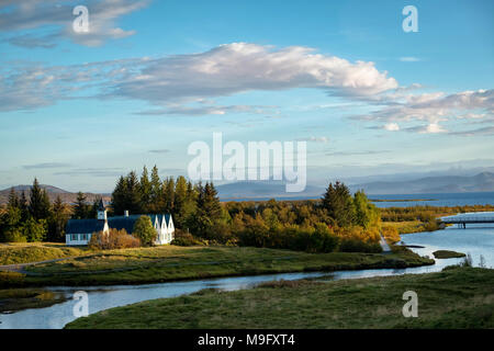 Late evening view of popular Thingvellir National Park in autumn, Iceland. - Stock Photo