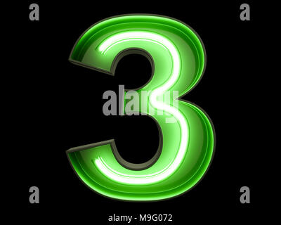 Neon green light glowing digit alphabet character 3 three font. Front view illuminated number 3 symbol on black background. 3d rendering illustration - Stock Photo