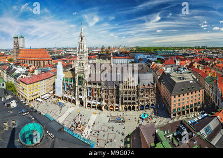 Aerial view of Munich, Germany - Stock Photo