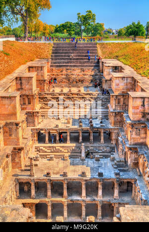 Rani Ki Vav, an intricately constructed stepwell in Patan. A UNESCO world heritage site in Gujarat, India - Stock Photo