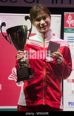 Budapest. 25th Mar, 2018. Silver medalist Lin Sheng of China poses during the awarding ceremony for the women's Epee Grand Prix in Budapest, Hungary on March 25, 2018. Credit: Attila Volgyi/Xinhua/Alamy Live News - Stock Photo