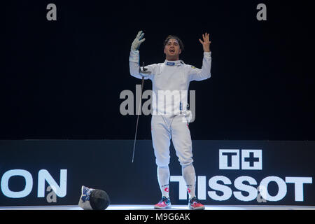 Budapest. 25th Mar, 2018. Max Heinzer of Switzerland celebrates after winning the final of the men's Epee Grand Prix in Budapest, Hungary on March 25, 2018. Max Heinzer claimed the title by defeating Alex Fava of France with 15-13 in the final. Credit: Attila Volgyi/Xinhua/Alamy Live News - Stock Photo