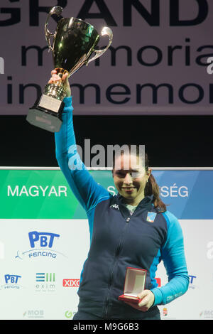 Budapest. 25th Mar, 2018. Mara Navarria of Italy celebrates during the awarding ceremony for the women's Epee Grand Prix in Budapest, Hungary on March 25, 2018. Mara Navarria claimed the title by defeating Lin Sheng of China with 5-4 in the final. Credit: Attila Volgyi/Xinhua/Alamy Live News - Stock Photo
