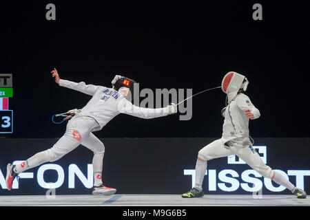 Budapest. 25th Mar, 2018. Max Heinzer (L) of Switzerland fights against Alex Fava of France during the final of the men's Epee Grand Prix in Budapest, Hungary on March 25, 2018. Max Heinzer claimed the title by defeating Alex Fava with 15-13 in the final. Credit: Attila Volgyi/Xinhua/Alamy Live News - Stock Photo
