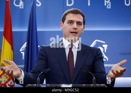 Leader of Ciudadanos, Albert Rivera, offers a press conference to announce they have reached an agreement with the ruling People's Party (PP) to endorse the General Budget 2018, in Madrid, Spain, 26 March 2018. EFE/ Emilio Naranjo - Stock Photo
