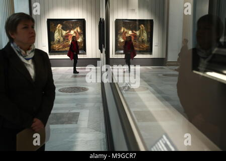 Moscow, Russia. 26th Mar, 2018. MOSCOW, RUSSIA - MARCH 26, 2018: An exhibition titled 'The age of Rembrandt and Vermeer. Masterpieces of the Leiden Collection' at the Pushkin State Museum of Fine Arts. Valery Sharifulin/TASS Credit: ITAR-TASS News Agency/Alamy Live News - Stock Photo