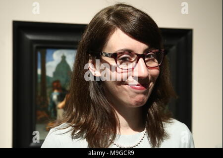 Moscow, Russia. 26th Mar, 2018. MOSCOW, RUSSIA - MARCH 26, 2018: Lara Yeager-Crasselt, curator of the Leiden Collection, at an exhibition titled 'The age of Rembrandt and Vermeer. Masterpieces of the Leiden Collection' at the Pushkin State Museum of Fine Arts. Valery Sharifulin/TASS Credit: ITAR-TASS News Agency/Alamy Live News - Stock Photo