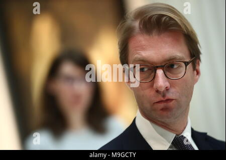 Moscow, Russia. 26th Mar, 2018. MOSCOW, RUSSIA - MARCH 26, 2018: Rijksmuseum Amsterdam director Taco Dibbits at an exhibition titled 'The age of Rembrandt and Vermeer. Masterpieces of the Leiden Collection' at the Pushkin State Museum of Fine Arts. Valery Sharifulin/TASS Credit: ITAR-TASS News Agency/Alamy Live News - Stock Photo