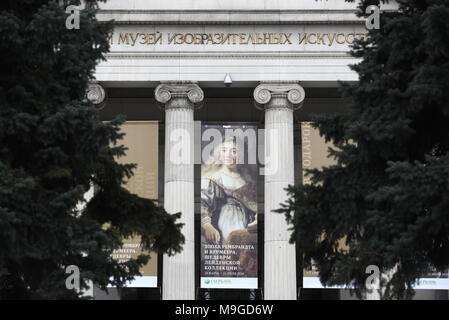Moscow, Russia. 26th Mar, 2018. MOSCOW, RUSSIA - MARCH 26, 2018: A poster of an exhibition titled 'The age of Rembrandt and Vermeer. Masterpieces of the Leiden Collection' outside the Pushkin State Museum of Fine Arts. Valery Sharifulin/TASS Credit: ITAR-TASS News Agency/Alamy Live News - Stock Photo