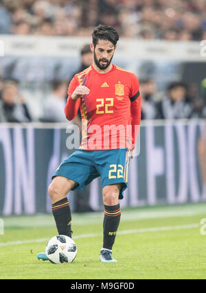 Duesseldorf, Deutschland. 23rd Mar, 2018. ISCO (ESP) Aktion, Fussball Laenderspiel, Freundschaftsspiel, Germany (GER) - Spanien (ESP) 1:1, am 23.03.2018 in Duesseldorf/ Germany. |usage worldwide Credit: dpa/Alamy Live News - Stock Photo