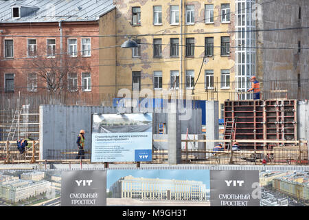 St. Petersburg, Russia - April 27, 2015: Construction site of the residential structure built by the Finnish company YIT Corporation. The company is t - Stock Photo