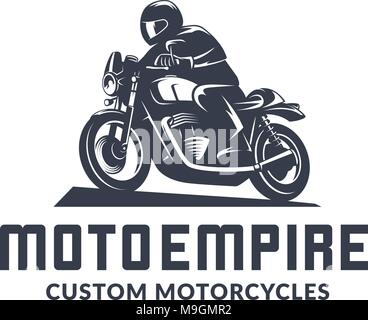 Vintage cafe racer motorcycle logo isolated on white background. Old school sport motorcycle desgn elements. - Stock Photo