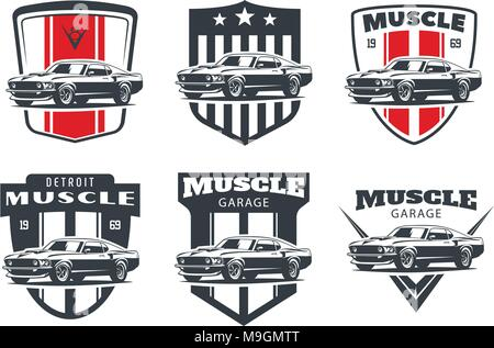 Set Of Muscle Car Emblems And Badges Classic Car T Shirt Template