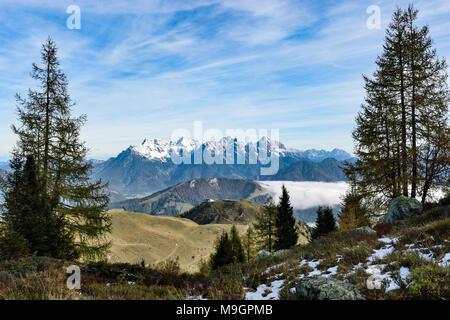view from refuge Wildseeloder hut towards Loferer Steinberge mountain range, Austrian alps, Tyrol, in autumn - Stock Photo
