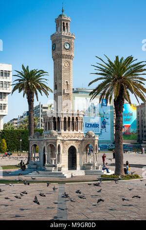 IZMIR, TURKEY - OCTOBER 04, 2014: Izmir Clock Tower, iconic historic town landmark. Saat Kulesi - Stock Photo