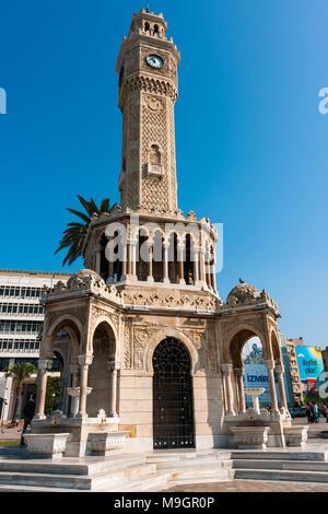 IZMIR, TURKEY - OCTOBER 04, 2014: Clock Tower, Ottoman architecture of historic symbol of Izmir at the  Konak Square, built in 1901. İzmir Saat Kulesi - Stock Photo
