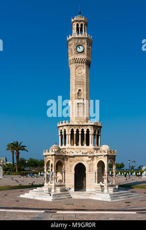 IZMIR, TURKEY - OCTOBER 04, 2014: East side of the Clock Tower, historic symbol of Izmir (Smyrna), built in 1901. Saat Kulesi - Stock Photo