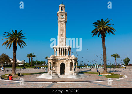 IZMIR, TURKEY - OCTOBER 04, 2014: Art and architecture, Clock Tower at the Konak Square, built to honor the Ottoman Sultan, Abdulhamit II.  One of the - Stock Photo