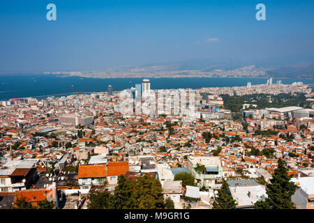 IZMIR, TURKEY - OCTOBER 04, 2014:  Birds eye panorama of high density housing of the Izmir center. View of the Aegean Sea and Mount Yamanlar in the ba - Stock Photo