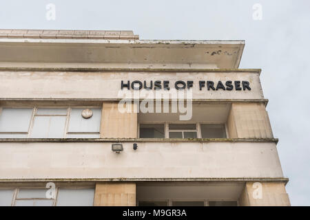 House of Fraser Plymouth, closing. Metaphor struggling retailers, high street squeeze, House of Fraser shop closures, high street spending drop - Stock Photo