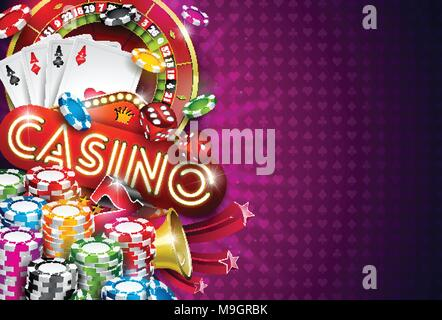 Casino Illustration with roulette wheel and playing chips on violet background. Vector gambling design with poker cards and dices for invitation or promo banner. - Stock Photo