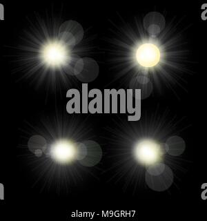 Sunlight set illustration. Collection of star bursts and flares - Stock Photo