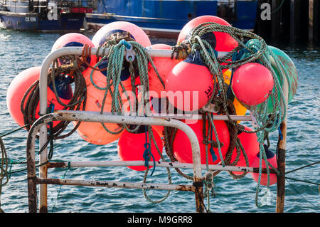 Brightly coloured marker buoys used by shell fishermen to mark location of their crab or lobster pots - Stock Photo