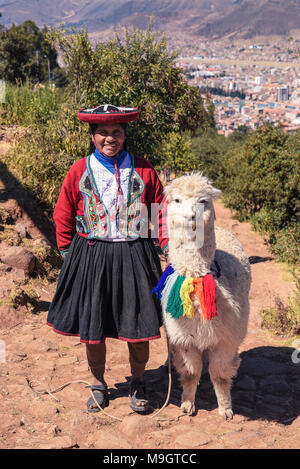 Peruvian Quechuan Woman Wearing Traditional Hat Or Montera