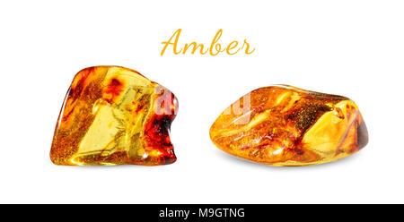 Macro shooting of natural gemstone. Polished amber. Gem stone. Isolated on white background. - Stock Photo