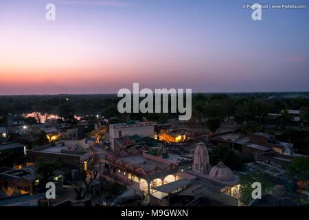 Place-Godhavi, Ahmedabad State Gujarat, India. March-26-2018. Photo of ariel view of Godhavi village near Ahmedabad city - Stock Photo
