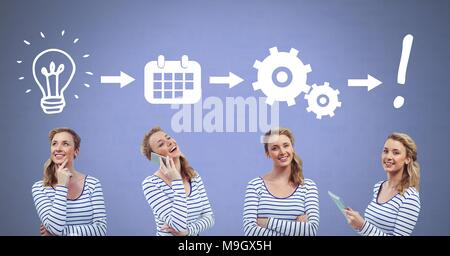 Woman thinking in sequence with ideas and brainstorm process icons - Stock Photo