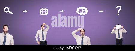 Businessman thinking in sequence with ideas and brainstorm process icons - Stock Photo