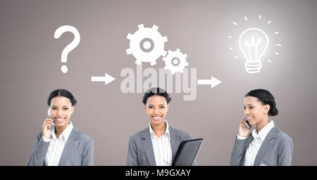 Businesswoman thinking in sequence with ideas and brainstorm process icons - Stock Photo