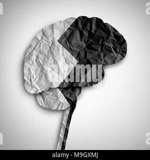 Bipolar brain disorder as a psychological illness concept as a thinking human organ divided in black and white as a medical symbol. - Stock Photo