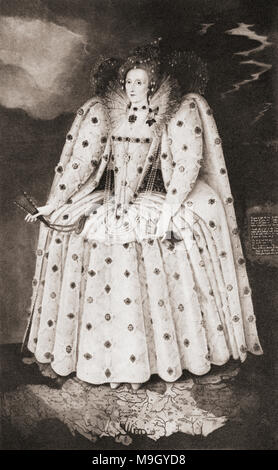 Queen Elizabeth I in the year 1592.  Elizabeth I, aka  The Virgin Queen, Gloriana or Good Queen Bess, 1533 – 1603.  Queen of England and Ireland.   From A Life of William Shakespeare, published 1908. - Stock Photo