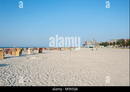 Beach with canopied wicker beach chairs, Laboe, Baltic Sea, Schleswig-Holstein, Germany, Europe - Stock Photo