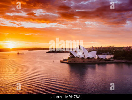 Splendid sunrise at the Sydney Harbour, NSW, Australia - Stock Photo