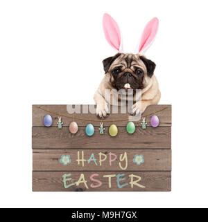 Easter bunny pug dog hanging on wooden sign with text happy easter and pastel decoration, isolated on white background - Stock Photo