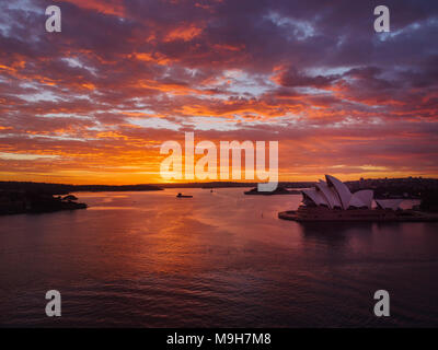 Splendid sunrise at the Sydney Harbour - Stock Photo