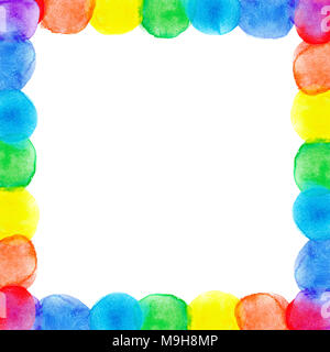 Abstract watercolor frame rainbow seven bright colors background isolated - Stock Photo