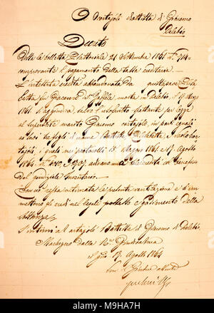 old vintage manuscript writing in cursive - Stock Photo