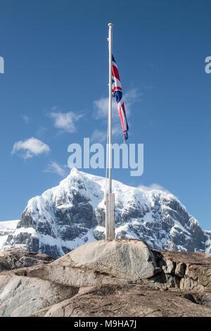 view of Base A, Port Lockroy, Antarctic Heritage Trust, Antarctica - Stock Photo