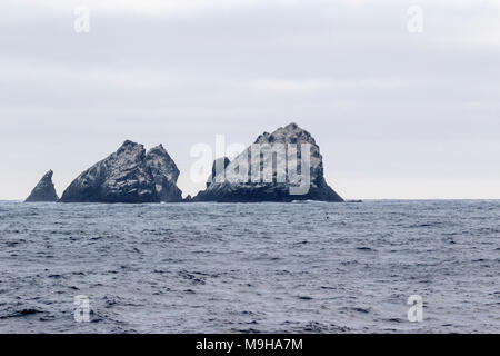 view of Shag Rocks off west coast of South Georgia - Stock Photo
