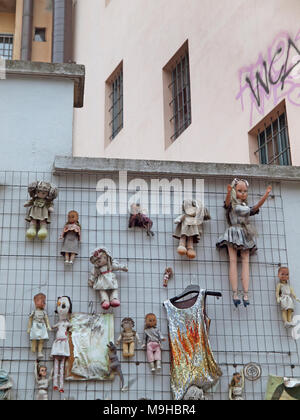 The Wall of Dolls in Milan, a public art installation symbolizing violence against women - Stock Photo