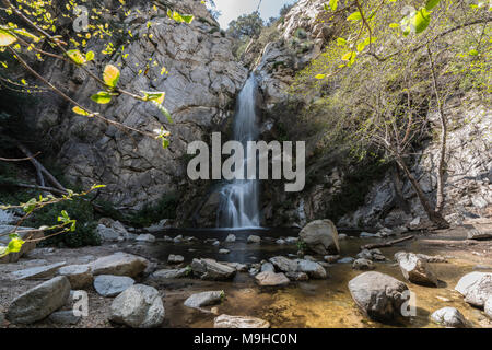 Sturtevant Falls in the San Gabriel Mountains above Los Angeles and Pasadena California. - Stock Photo