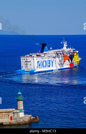 Moby Lines MOBY Vincent has reversed out of Port of Bastia Corsica France Europe and leaves for destination Livorno in Italy - Stock Photo