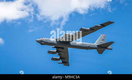 The Mighty Buff Boeing B-52 Stratofortress bomber in flight at the 2017 Airshow in Duluth, Minnesota, USA. - Stock Photo